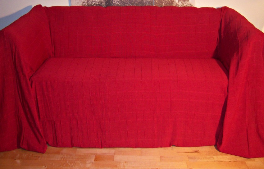 Images of 100% Cotton Red Giant Size 3 Seater Sofa Throw 250 x280 cms 3 seater sofa throws