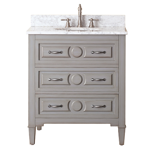 Elegant Kelly Grayish Blue 30-Inch Vanity Combo with White Carrera Marble Top 30 inch bathroom vanity with sink
