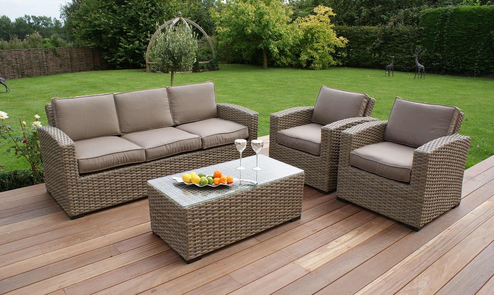 Amazing Antilles Natural 3 Seater Rattan Sofa Set - Fishpools rattan sofa set