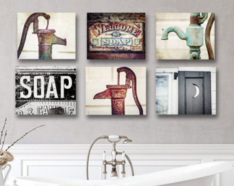 Amazing Artwork for Rustic Bathroom Wall Decor, Farmhouse Bathroom Wall Gallery  Prints or rustic bathroom wall decor
