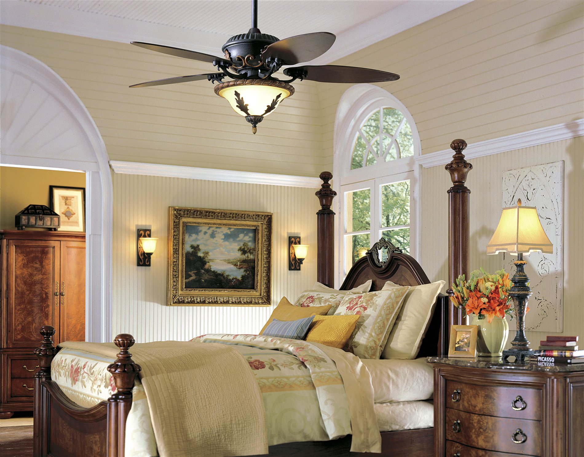 Cool Bedroom Ceiling Fans Part - 28: Amazing Beautiful Ceiling Fans With Lights For Classic Bedroom With Wooden  Furniture Bedroom Ceiling Fans With