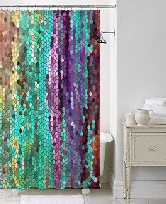 Amazing Beautiful Shower Curtain -Morning has Broken Mosaic , unique fabric , teal, unique fabric shower curtains