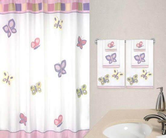 Amazing Butterfly Fabric Bath Shower Curtain for Girls - Pink, White u0026 Lavender white butterfly curtains