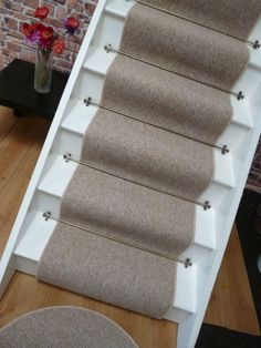 Amazing Carpet stair runner to fit 13 stairs, Berber style, Mottled Beige, Low Cost berber carpet stair runners
