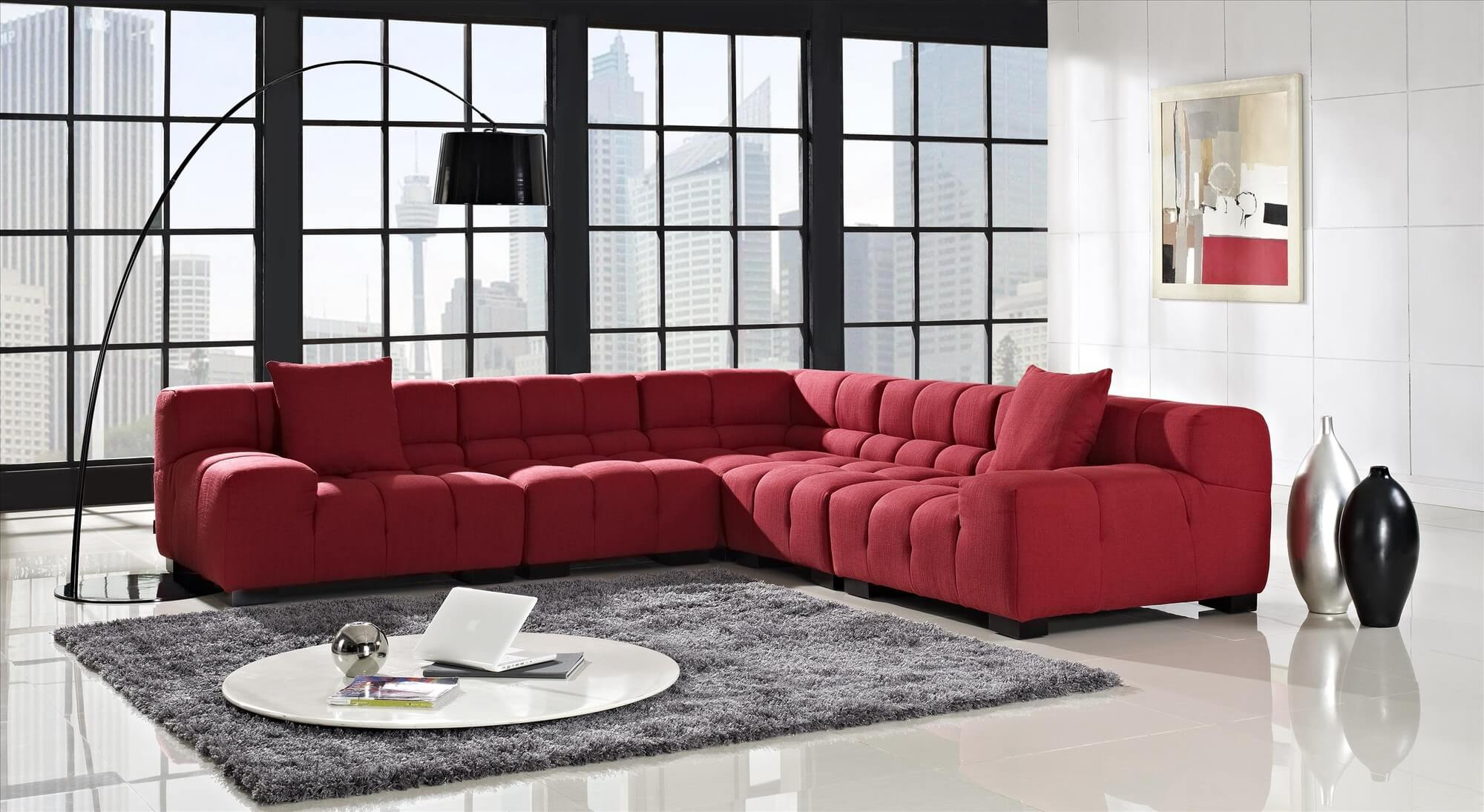 Amazing Creative Furniture Tufted Red Sectional red sectional sofa