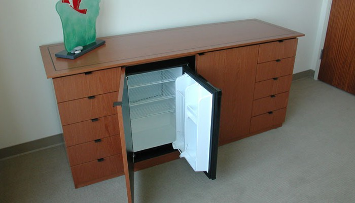 Amazing Credenza with refrigerator, wild cherry veneer office credenza with refrigerator