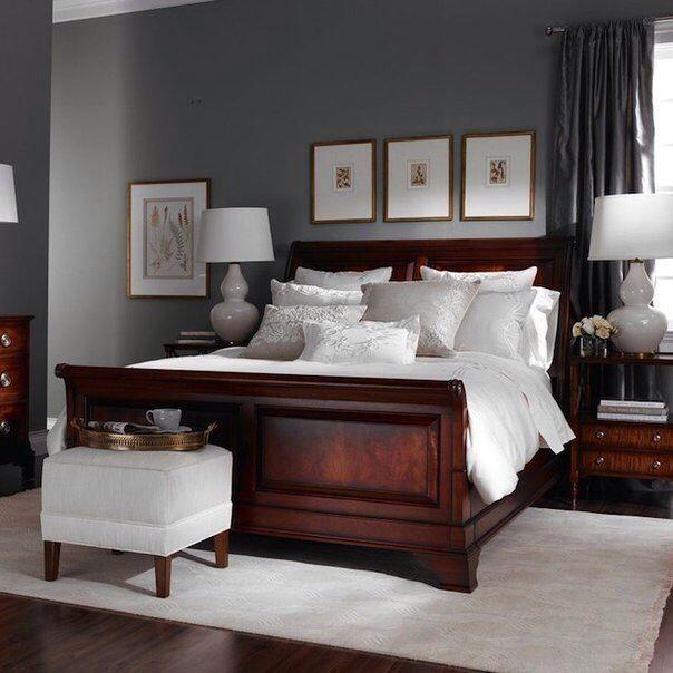 Amazing Dark woods, but brights bedding rather than white. Dark Wood Bedroom  FurnitureCherry dark wood bedroom furniture decor