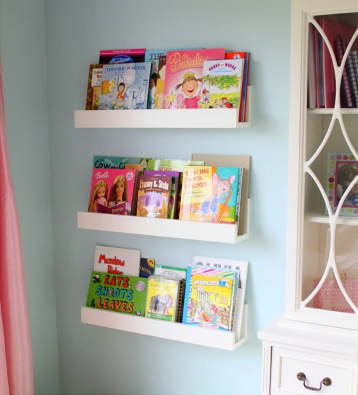 Amazing DIY White Minimalist Wall-Mounted Book Shelves for Little Girls Bedroom  Decoration - wall mounted bookshelves for kids