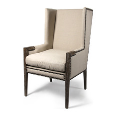 Amazing French Modern Angled Linen Nailhead Wing Chair - Armchairs And Accent Chairs modern wingback chair