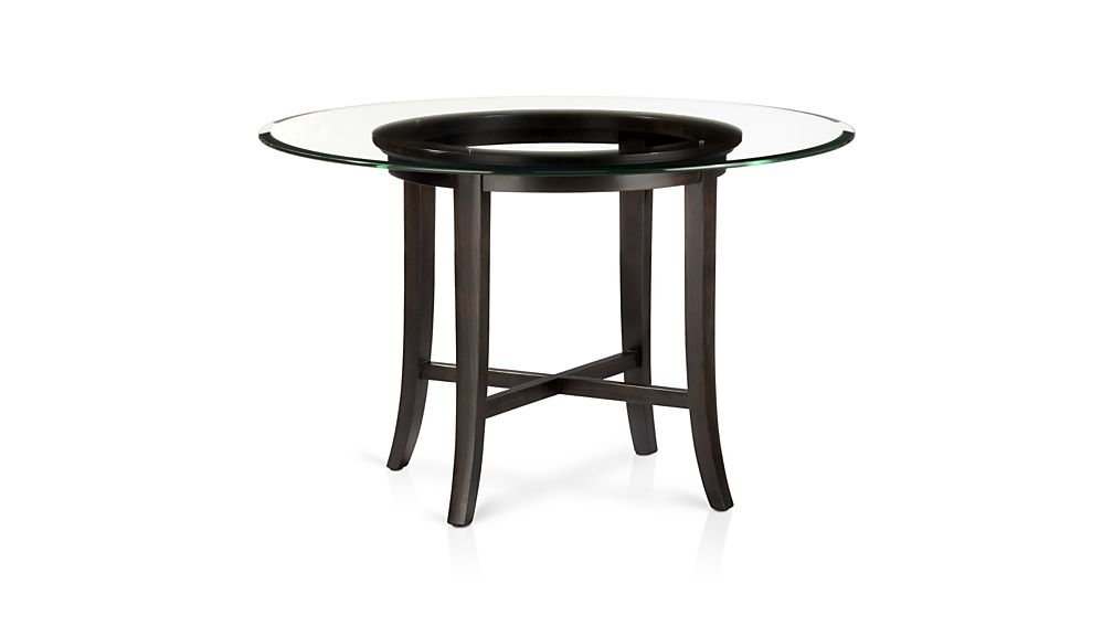Amazing Halo Ebony Round Dining Tables with Glass Top | Crate and Barrel round glass top dining table