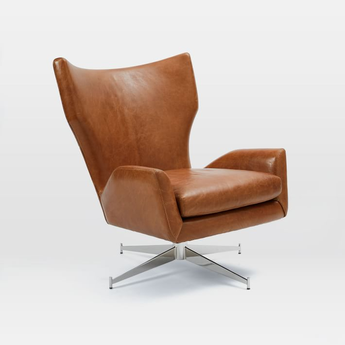 Amazing Hemming Leather Swivel Armchair | west elm swivel leather armchair