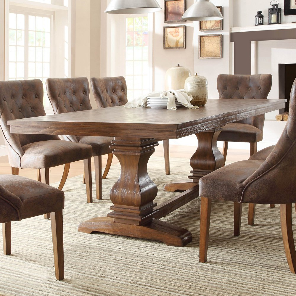 Amazing Homelegance Marie Louise Double Pedestal Dining Table in Rustic Brown double pedestal dining table