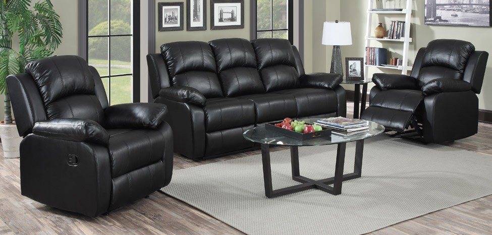 Amazing Jordan 3 + 1 + 1 Seater Black Recliner Leather Sofa Set black leather sofa set