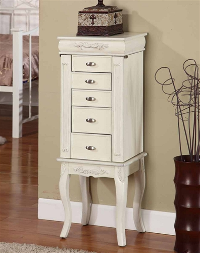 Amazing Lovely White Jewelry Armoire. Antique Style with 6 Drawers. antique white jewelry armoire