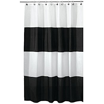 Amazing mDesign Mildew-Free Water-Repellent Bold Stripe Fabric Shower Curtain - 54 black and white striped shower curtain
