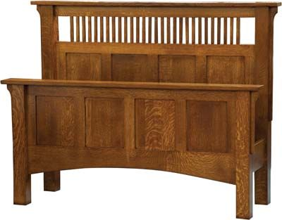 Amazing mission bedroom furniture plans | Arts and Crafts Spindle Panel Bed | Solid arts and crafts bedroom furniture