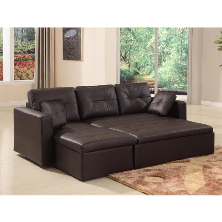 Amazing Mood Leather Corner Sofa - With Sofa Bed - With Storage - Black corner leather sofa bed with storage
