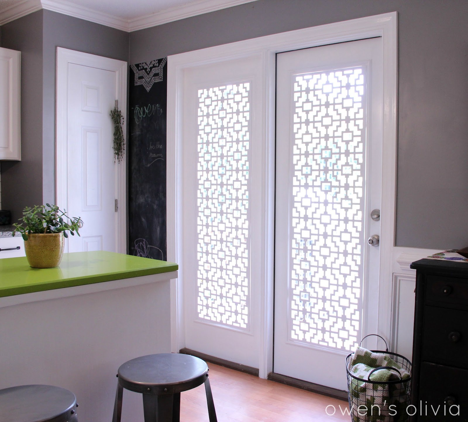 Amazing Owenu0027s Olivia: Custom Window Treatments Using PVC. I u003c3 this for my kitchen. window treatments for french doors in kitchen