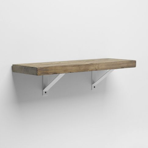 Amazing Reclaimed Wood Shelf + White Basic Bracket, 2u0027- the exposed shelving in white wooden shelves