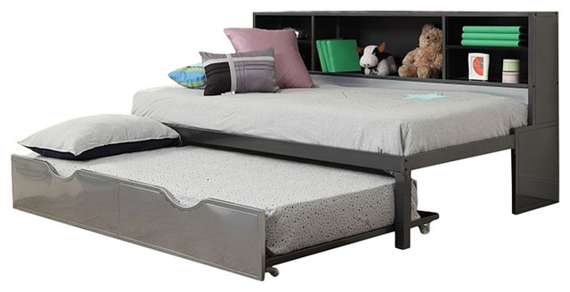 Amazing Renell Silver Black Finish Twin Size Bed and Trundle With Bookcase Storage twin size beds for kids
