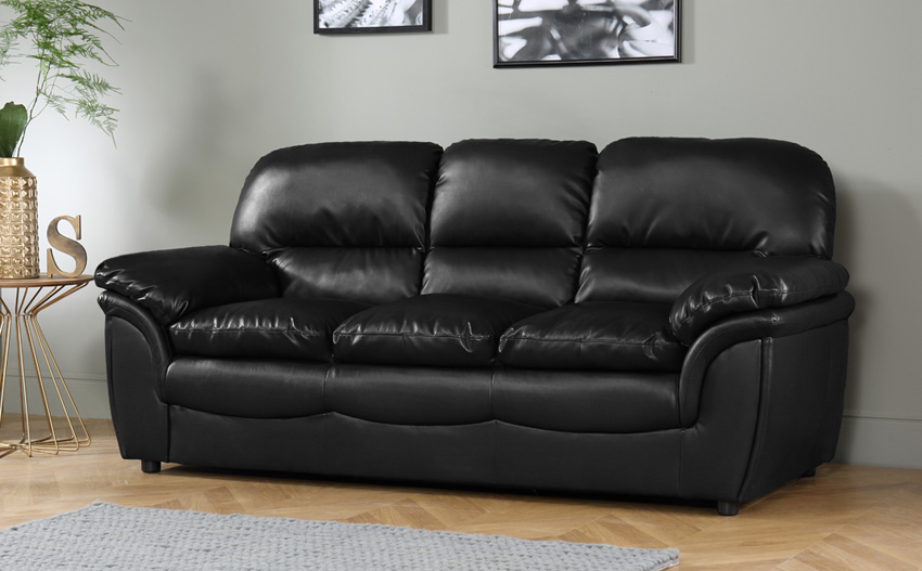 Amazing Rochester Black Leather 3 Seater Sofa 3 seater leather sofa