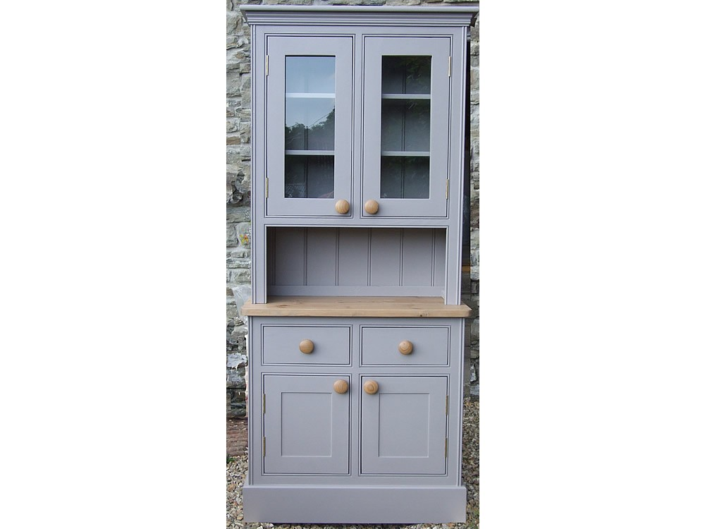 Amazing Small Painted Welsh Dresser, Panelled and Glazed Doors, W:1067mm H:1980mm small welsh dresser