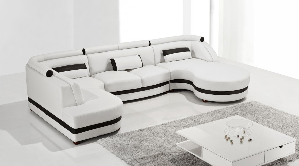 Living room with Modern Sectional Sofa  sc 1 st  darbylanefurniture.com : white modern leather sectional - Sectionals, Sofas & Couches