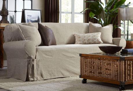 Amazing Textured Linen One Piece Loveseat Slipcover linen slipcover sofa