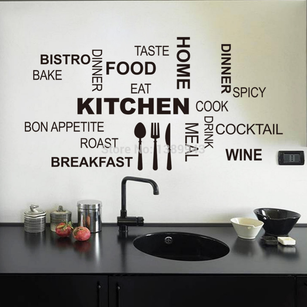 Amazing Top 30*58cm Black Vinyl Stick Words Fashion Kitchen Sticker Wall Decor kitchen wall decor stickers