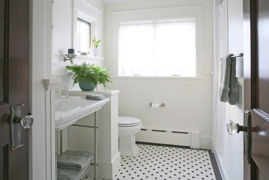 Amazing View in gallery Refreshing white bathroom with beadboard paneling white beadboard bathroom