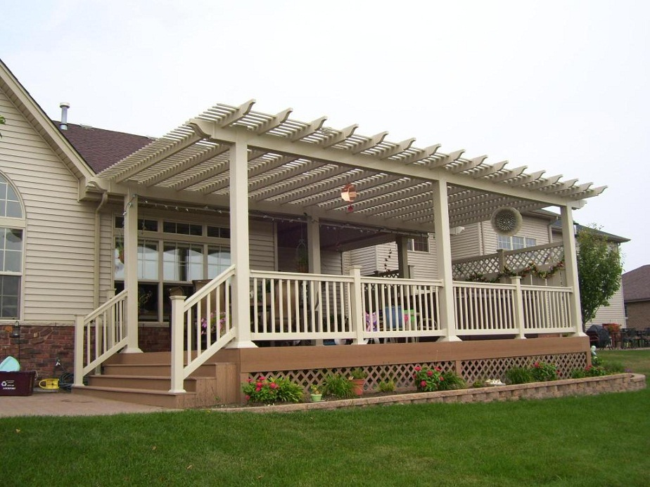 Amazing Wonderful Vinyl Pergola On Deck With Louvered Slats Shade Interior Design - pergola designs for decks
