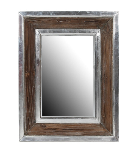 Amazing Wood and Aluminum Wall Mirror framed bathroom mirrors