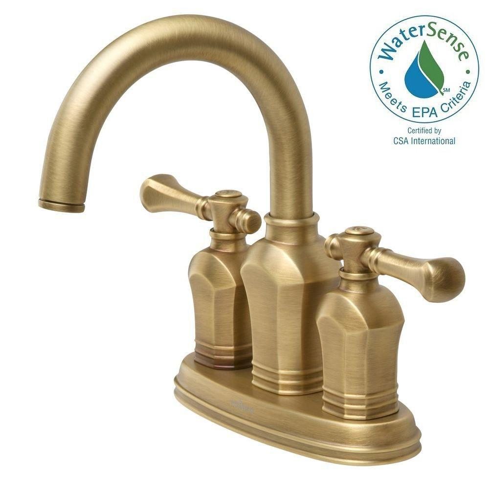 Cozy Centerset 2-Handle Bathroom Faucet in Antique Brass antique brass bathroom faucet