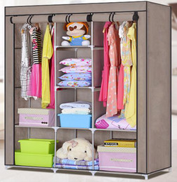 Best Brand New Double Easy to Assemble Closet Portable Wardrobe Large Space  Clothes assembled wardrobe closets