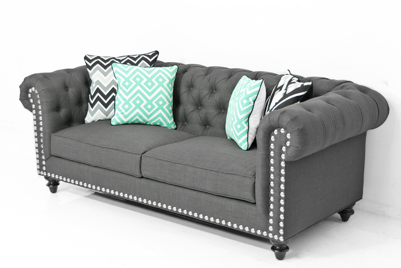 Awesome Chesterfield Sofa in Charcoal Linen linen chesterfield sofa