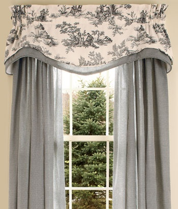 Awesome ...in red for the living room. country curtains. Lenoxdale Toile Layered french toile curtains