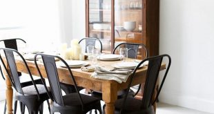 Awesome Matte black chairs with a rustic, wooden table from Pineapple Life (via black wood dining room chairs
