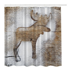 Awesome MoreThanCurtains - Rustic Winter Moose Holiday Christmas Fabric Shower  Curtain - Shower rustic shower curtains
