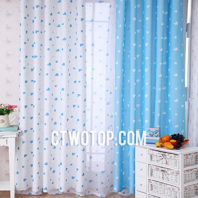 Awesome White And Baby Blue Heart Patterned Best Chic Nursery Kids Curtains baby blue nursery curtains
