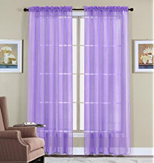 Awesome WPM 60 x 63-Inches Sheer Window Elegance Curtains/drape/panels/treatment lilac sheer curtains