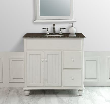 Amazing Snow White Single Sink Bathroom Vanity With Granite Top And Mirror From beadboard bathroom vanity