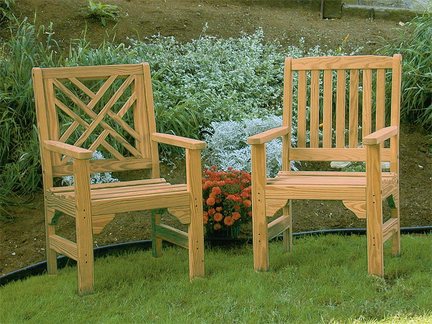 Beautiful Amish Pine Wood Chippendale Garden Chair Wooden Chairs
