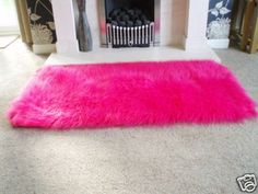 Beautiful BARBIE HOT PINK FAUX SHEEPSKIN SHAGGY FLUFFY RUG 54X27 on eBay! pink fluffy rug
