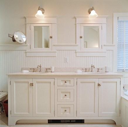 Beautiful beadboard bathroom, white bathroom, double vanity, cottage style, bathroom beadboard bathroom vanity