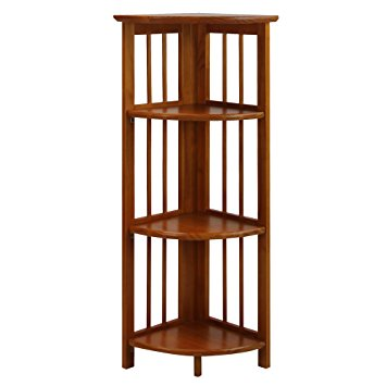 Beautiful Casual Home 4 Shelf Corner Bookcase, Honey Oak oak corner bookcase