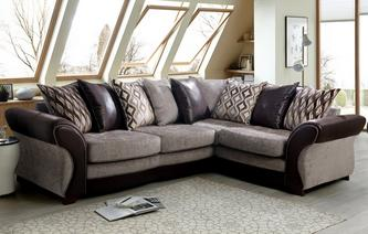 Beautiful Chance Left Hand Facing 3 Seater Pillow Back Deluxe Corner Sofa Bed corner sofa bed