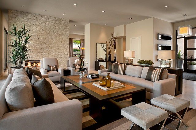 Beautiful Contemporary Living Room by Ownby Design modern large living room designs