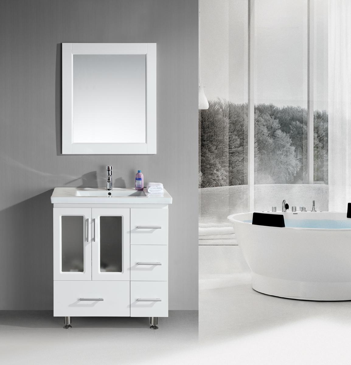 Beautiful Design Element Stanton 30u201d White Bathroom Vanity Set ... bathroom vanity sets