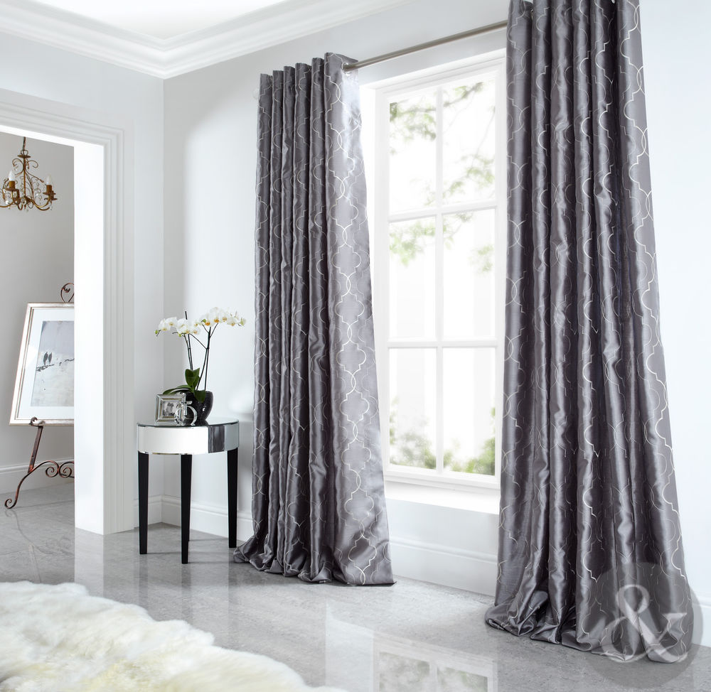 Beautiful Details about Sicily Curtains Luxury Faux Silk Silver Grey Embroidered  Lined silver grey curtains