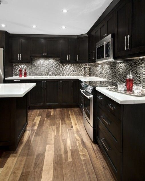 Beautiful Espresso kitchen cabinets, love them.... Not too crazy about the back best kitchen renovations